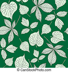 Seamless pattern with hand-drawn leaves