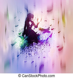 Abstract girl and raven - Illustration of a 3d gothic girl...