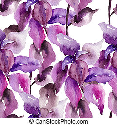 Original floral seamless wallpaper, watercolor illustration