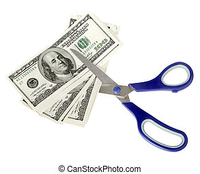 USA Dollars - USA dollars with scissors, isolated on white...