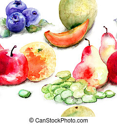Seamless pattern with fruits, watercolor illustration