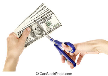 USA Dollars - USA dollars with hand and scissors, isolated...