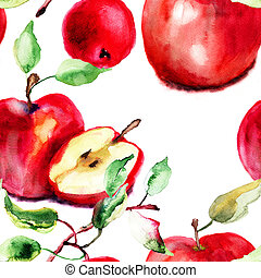 Stylized watercolor apple illustration, seamless wallpaper
