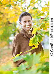 girl at autumn park - Outdoor portrait of girl at autumn...