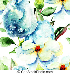 Seamless pattern with Beautiful summer flowers, watercolor...