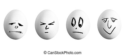 four white eggs with face before white background