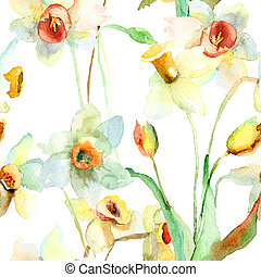Narcissus flowers - Seamless wallpaper with Narcissus...