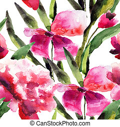 Watercolor ilustration with Beautiful pink flowers