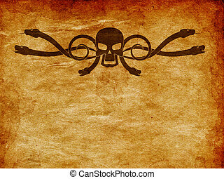 Grunge skull and snake - Abstract cartoon skull with snakes...