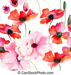 Seamless wallpaper with Colorful pink flowers, watercolor...