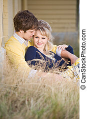 Young caucasian couple in love - A portrait of a beautiful...