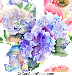 Beautiful Hydrangea blue flowers - Watercolor illustration...