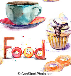 Cup of tea with buns and cake, watercolor illustration;...