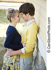 Young caucasian couple in love - A young caucasian couple in...