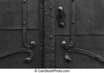 black door - gross detail fitting historical medieval black...