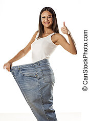 I won thickness - happy pretty attractive girl posing in...