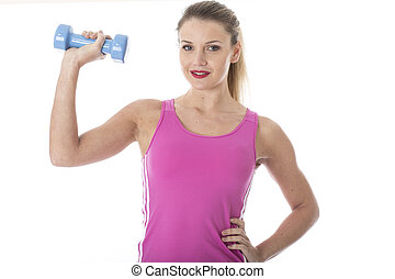 Model Released. Attractive Young Woman Holding Dumb Bell Weight