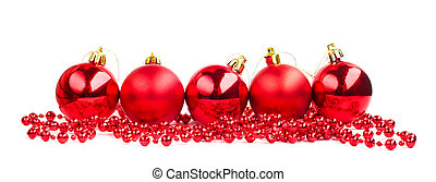 Christmas red balls isolated on a white background