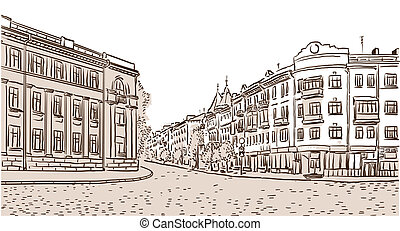 The ancient European street paved by a stone blocks. Vector...