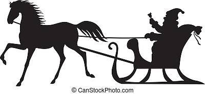 Santa Claus riding on a horse sleigh - Silhouette of Santa...