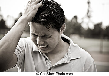 trist, Stressa, ung, Asiat, manlig