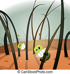 Lice Invasion Inside Hairy Landscape - Illustration of a...