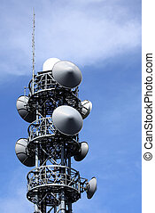 Communication tower with antennas - Communication tower with...