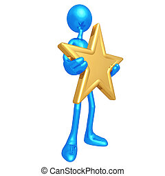 Holding A Gold Star - 3D Concept And Presentation Figure