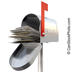 Old School Retro Metal Mailbox Full - An perspective view of...