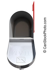 Old School Retro Metal Mailbox Open - An front view of an...