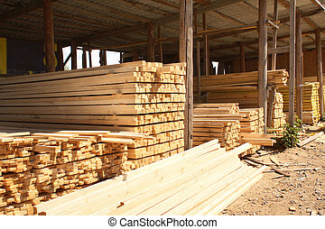 Wooden boards in a warehouse