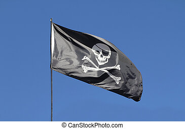 Pirate flag - Black pirate flag in the wind