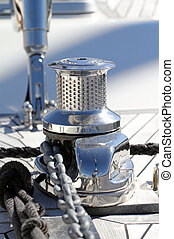 Capstan in chrome used for sailing