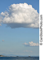 at the sea - The huge cloud in the form of a hat of a...