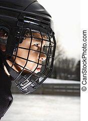 Ice hockey player boy - Ice hockey player boy in uniform and...
