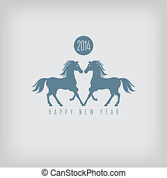 Year of the horse card (vector illustration contains mesh...