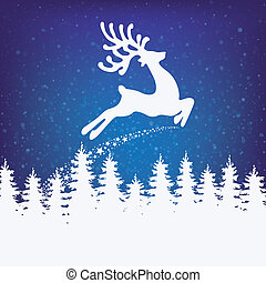 reindeer fly winter background