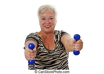 Female senior with dumbbell