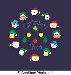 Christmas time - Cute vector Christmas characters for your...
