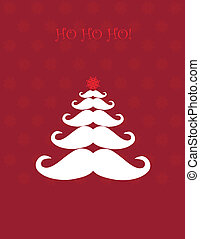 Christmas tree made of Santas moustaches - Christmas card...