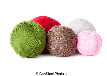 Balls of yarn - Colorfull balls of yarn. Isolated on a white...