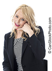 Model Released Happy Young Business Woman
