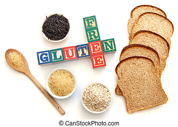 Gluten free - Letter blocks surrounded with gluten free...