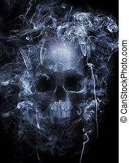 Hazardous Smoke - Photo montage of a human skull surrounded...