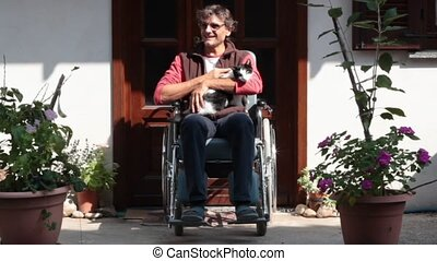 happy man on a wheelchair