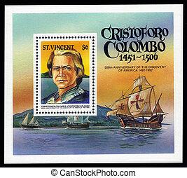 Christopher Columbus - SAINT VINCENT - CIRCA 1992: stamp...