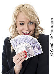 Model Released. Attractive Young Woman Holding Money