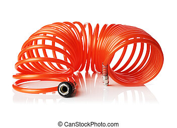 Spiral Air Hose - Orange red thin spiral air hose used for...