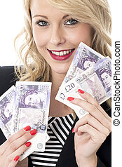 Model Released Attractive Young Woman Holding Money