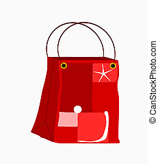 shopper rossa - borsa dello shopping rossa, con decoro